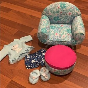 American girl oversized chair, ottoman and pjs